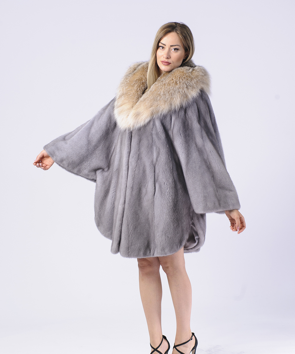 Sapphire Let Out Mink Fur Coat With Lynx Hood Imperia Furs