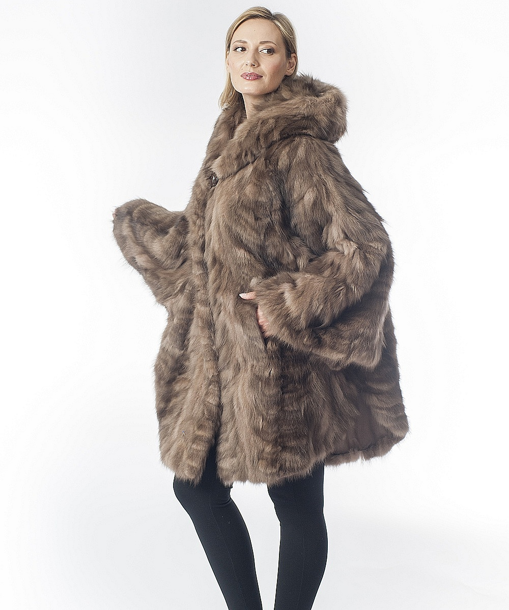 Sable Fur Sections Semi Coat With Hood, How Much Is A Sable Coat